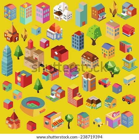 Colorful vector isometric city and buildings collection - stock vector