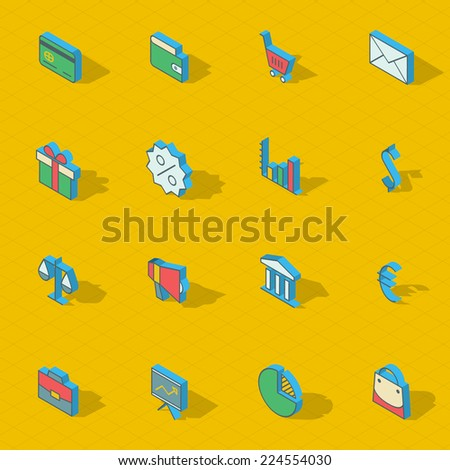 Colorful vector isometric flat design icon set. eps10