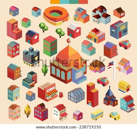 Colorful vector isometric mosque and buildings collection - stock vector