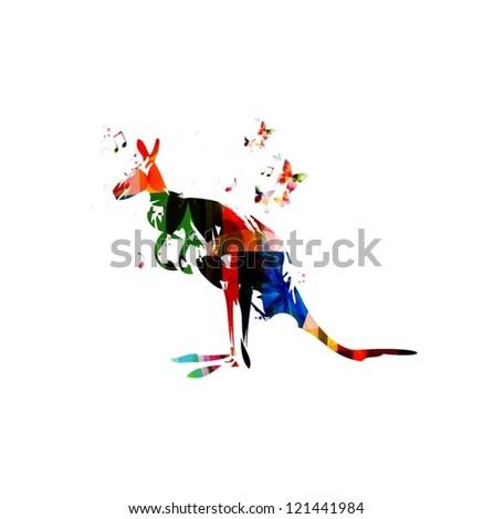 Colorful vector kangaroo with butterflies - stock vector