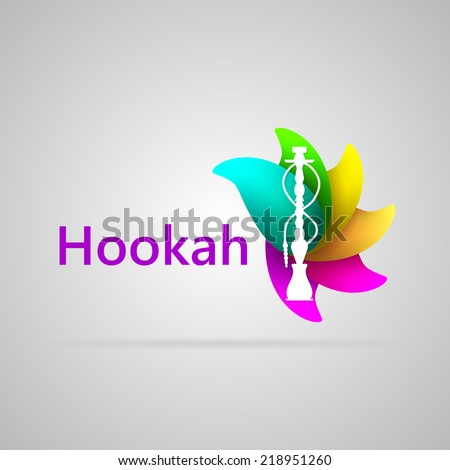 Colorful vector logo for hookah. Abstract logotype of white silhouette hookah on the colorful flavour petals and word Hookah. Isolated vector illustration on gray. - stock vector