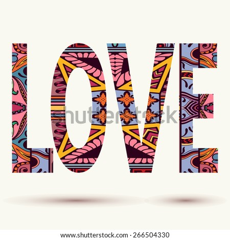 Colorful vector love background, abstract ornamental geometric pattern - stock vector