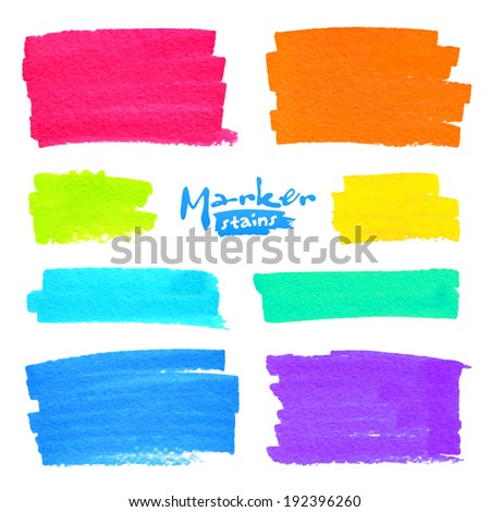 Colorful vector marker stains set - stock vector