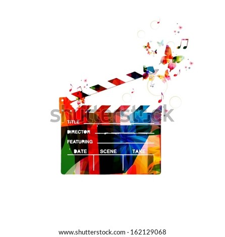 Colorful vector movie clapper background with butterflies.  - stock vector