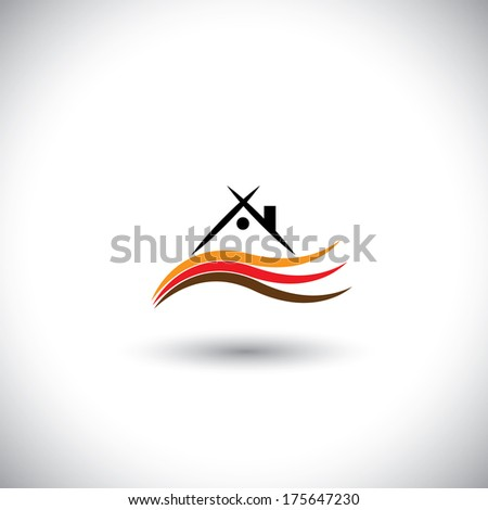 colorful vector of house sign or symbol with waves. This graphic illustration represents home icon with roof & chimney and covered by smooth waves - stock vector