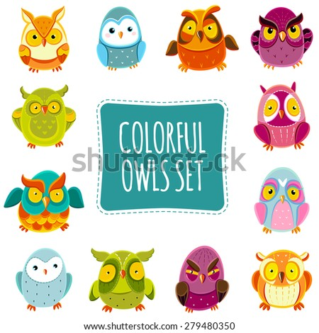 Colorful Vector Owls set. Vector Owls. Vector illustration - stock vector