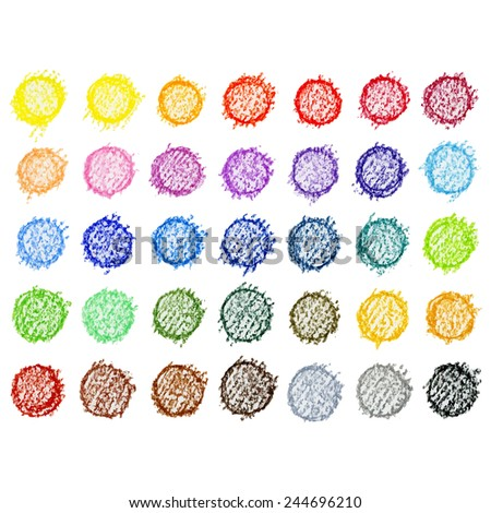 Colorful vector pallete on white background (hand drawn with watercolor pencils) - stock vector