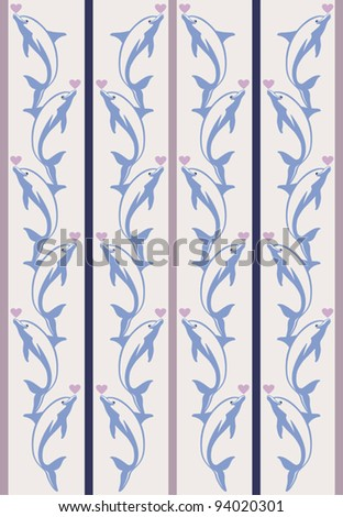colorful vector pattern with decorative white dolphins and  hearts for Valentin's day - stock vector