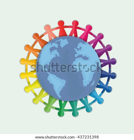Colorful Vector People Holding Hands Around Globe, paper stylized.