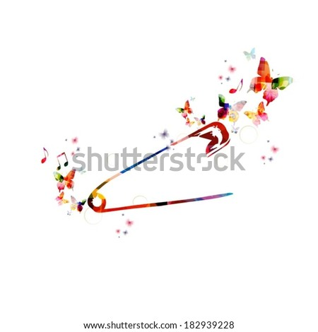 Colorful vector safety pin background with butterflies - stock vector