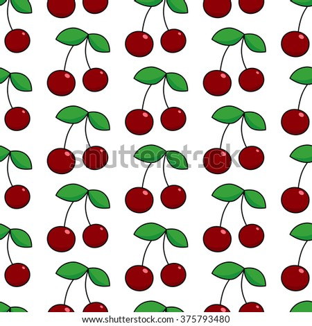 Colorful vector seamless patter with  berry cherry. Endless repeating print background texture. Can be used like wallpaper, greeting card design, restaurant menu cover, textile print. - stock vector
