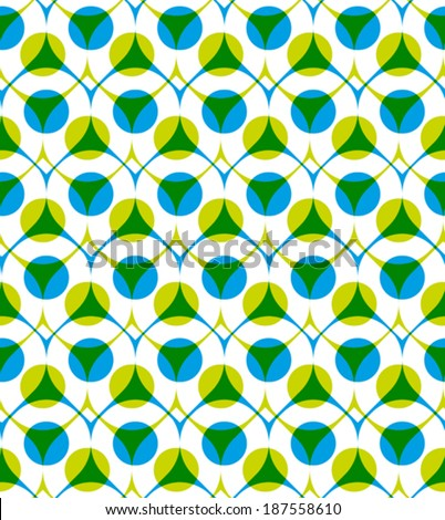 Colorful vector seamless pattern with green and blue dots, summer bright infinite imposing background with drops and circles, endless abstract book cover.  - stock vector