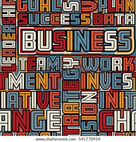 Colorful vector seamless tile of business words