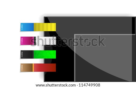 Colorful vector self-adhesive stickers & bookmarks for your site - stock vector