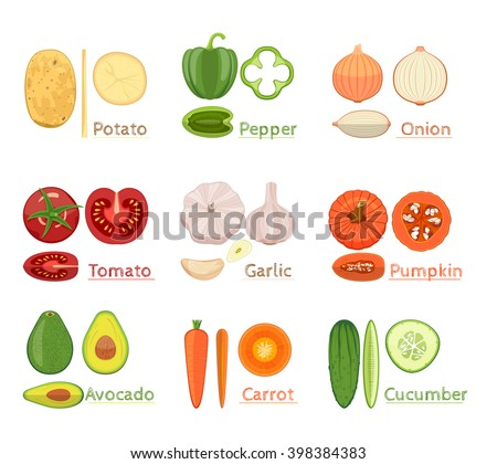 Colorful  Vector Set Of Fresh Sliced  Vegetables Icon.  Vector Illustration