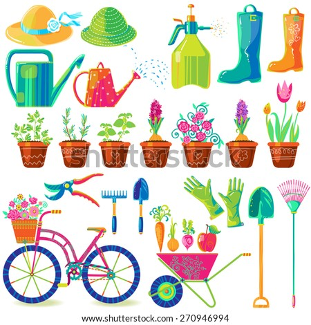 Colorful Vector Set Of Garden Tools, Clothes, Vegetables, Herbs And Cute  Bicycle.