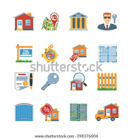 Colorful  Vector Set Of Real Estate Flat Design Icons. Real Estate Objects And Web Elements Collection - stock vector