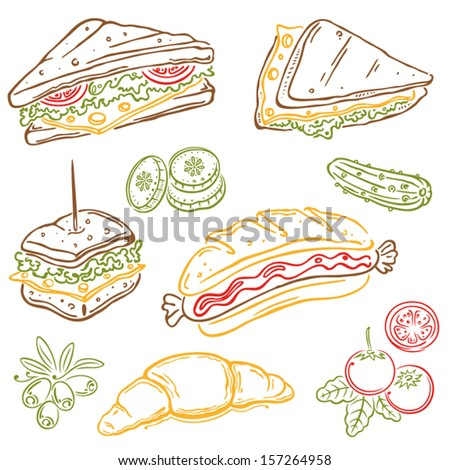 Colorful vector set, sandwiches and vegetable - stock vector