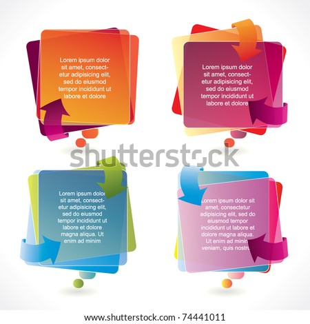 Colorful vector speech bubble set with arrows and transparency - stock vector