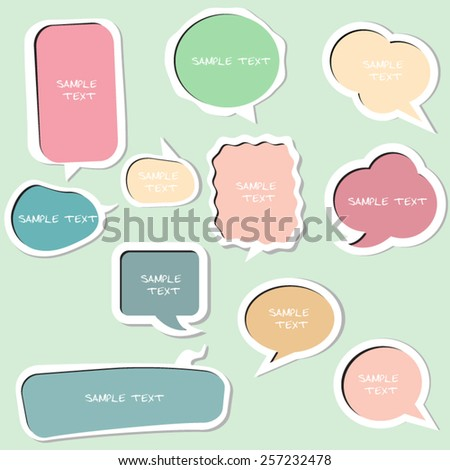 colorful vector speech bubbles, isolated, vector illustration - stock vector