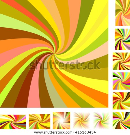 Colorful vector spiral design background set. Different color, gradient, screen, paper size versions. - stock vector