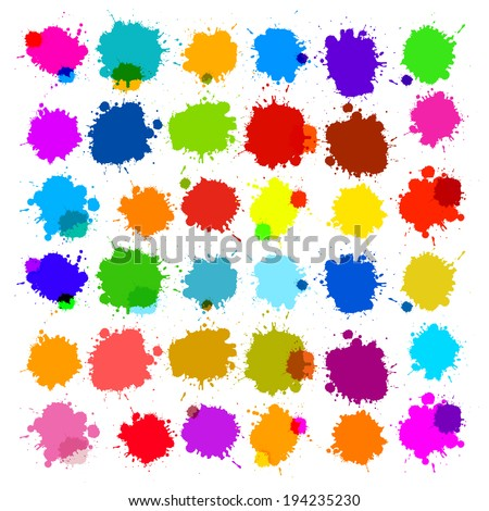 Colorful Vector Splashes - Blot, Stains Set - stock vector