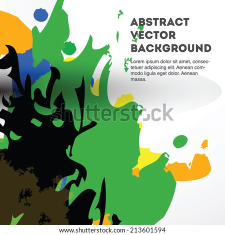 Colorful vector splashes on a light gray background. Editable eps 10 illustration.  - stock vector