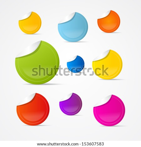 Colorful Vector Stickers, Labels Isolated on Grey Background