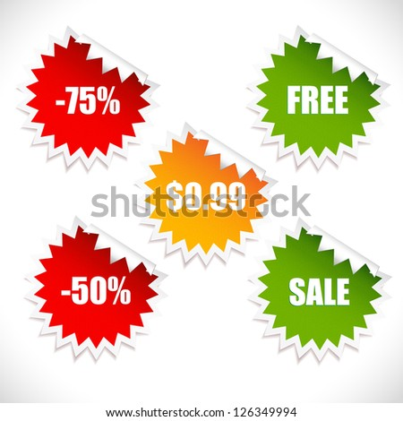 Colorful vector stickers. Sale. Look at my portfolio to find more. - stock vector