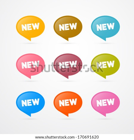 Colorful Vector Stickers with New Title Isolated on Grey Background  - stock vector