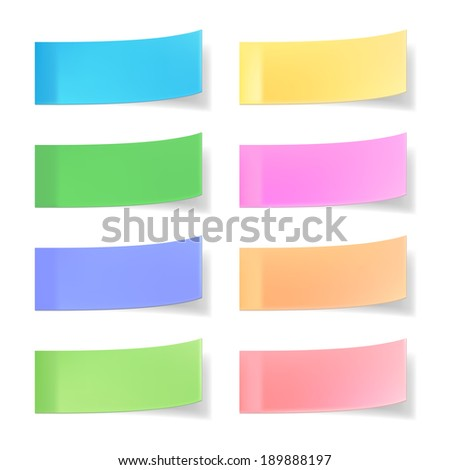colorful vector sticky notes isolated on white