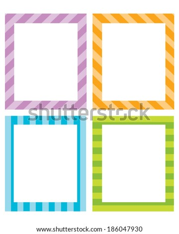 Colorful vector striped invitation temple and frame set - stock vector