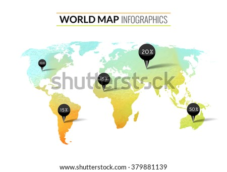 Colorful vector watercolor world map infographics stock vector colorful vector watercolor world map infographics with pins and percents gumiabroncs Images