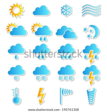 Colorful vector weather icons collection on white background - stock vector