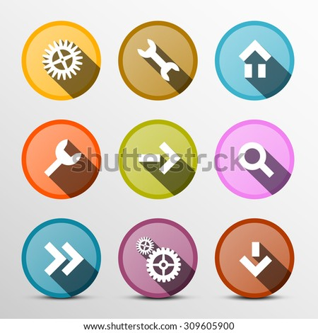 Colorful Vector Web Icons Set in Circles - stock vector