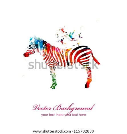 Colorful vector zebra with hummingbirds - stock vector