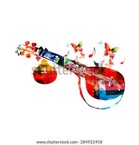 Colorful veena with butterflies, musical instrument background - stock vector