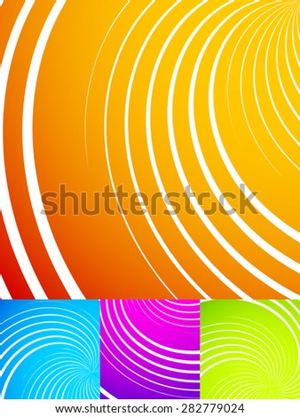 Colorful, vibrant backgrounds with swirls, spirals, swooshes. Vector illustration. - stock vector
