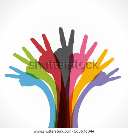colorful victory sign hand vector