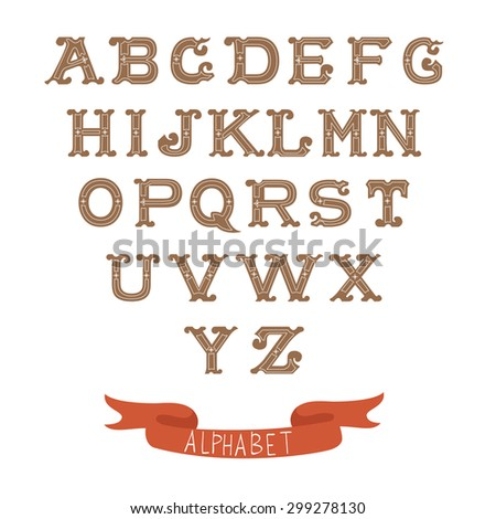 Colorful vintage alphabet on white background. Vector illustration - stock vector