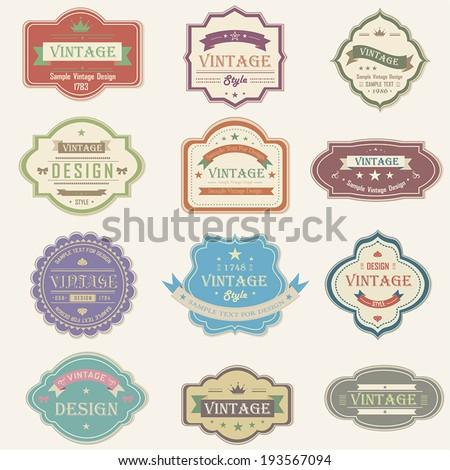 Colorful vintage and retro badges label background tag design from product brand promotion and marketing with sample text, create by vector - stock vector