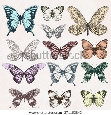 Colorful vintage butterflies. Vector, EPS10.
