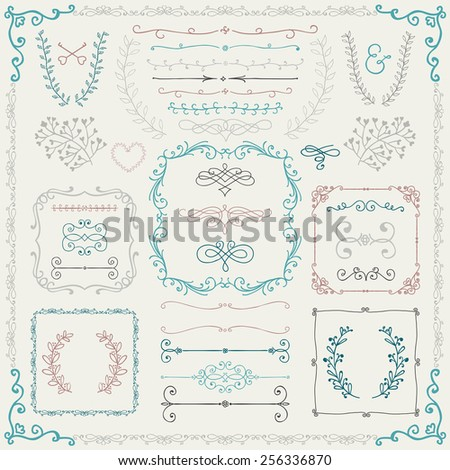 Colorful Vintage Hand Drawn Doodle Design Elements. Vector Illustration. Branches, Borders, Frames - stock vector