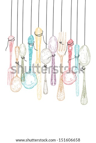 Colorful vintage hand drawn hanging cutlery illustration. Vector file layered for easy manipulation and custom coloring. - stock vector
