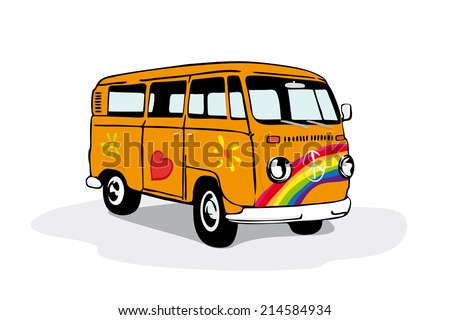 Colorful vintage hippie van. Vector illustration of vintage camper van painted with flowers, heart and rainbow. - stock vector