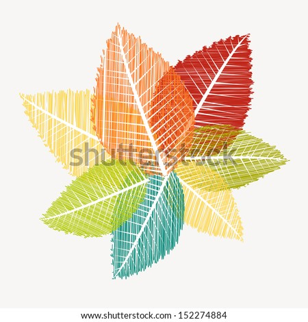 Colorful vintage leaves silhouettes. Autumn season concept background. EPS10 Vector file in layers for easy editing. - stock vector