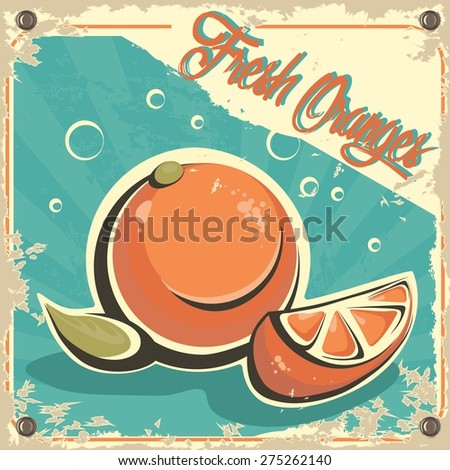 Colorful vintage Orange Juice label poster vector illustration. - stock vector