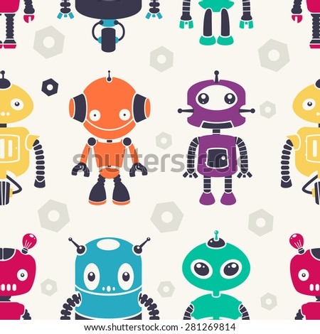 Colorful vintage robots. Seamless vector pattern. - stock vector
