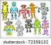 Colorful Vintage Robots Set (vector) - stock vector
