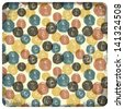 Colorful vintage seamless pattern (balls doodles). Vector - stock vector
